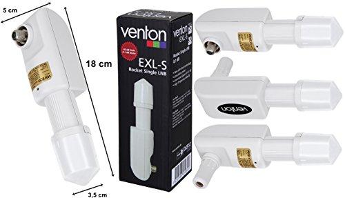 Venton Lnb Single 0,1dB Universal Block Converter 1-fach (digital, SD, HD-TV) für Satschüssel Camping Satellitenschüssel mit Receiver inkl. Wetterschutz und Zubehör