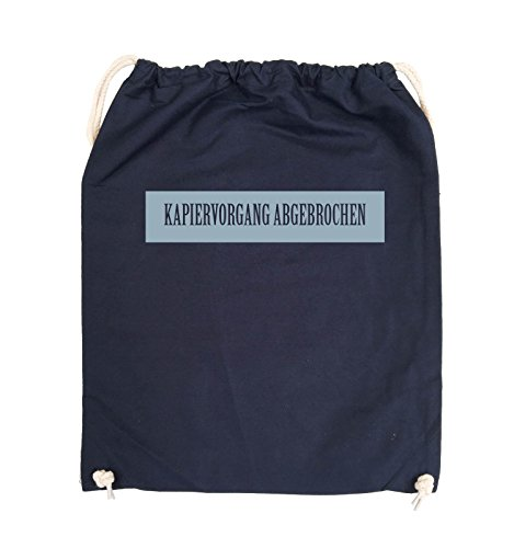 Comedy Bags - KAPIERVORGANG ABGEBROCHEN - Turnbeutel - 37x46cm - Farbe: Schwarz / Silber Navy / Eisblau