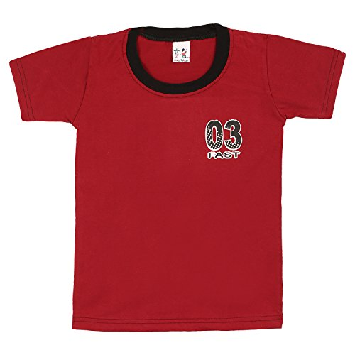 S.R.KIDS Cotton Boys RNRed Tshirt(SR-BRIBNECK-TSHIRT-RD_18-24M)  available at amazon for Rs.98