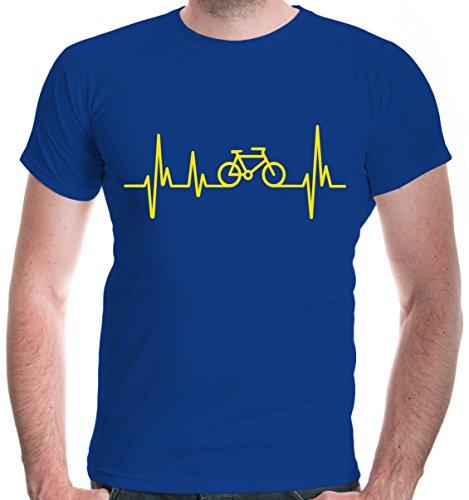 buXsbaum Herren T-Shirt Frequenz Cycle   Fahrrad Bike Rad Bicycle Velo Drahtesel   M, Blau