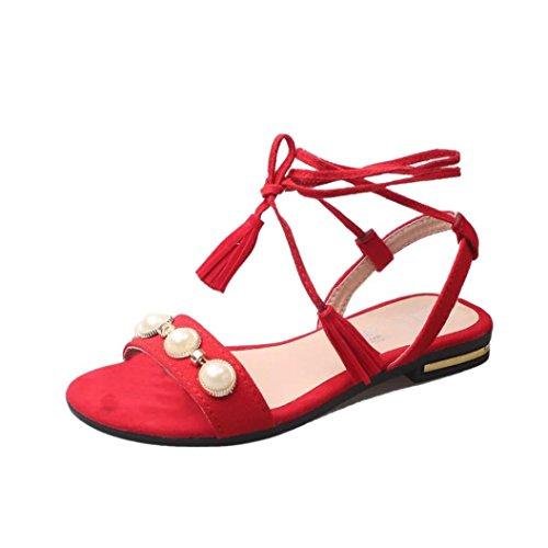 Beautyjourney sandali estivi donna bassi eleganti scarpe donna estive eleganti sandali gioiello donna bassi sandali donna con tacco basso - moda donna spiaggia scarpe sandali (40, rosso)