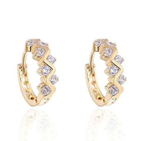 Womens Earring,Clode® 1Pair Ladies Girls Trendy Rhinestone Earrings Round Stud Loop Jewelry for