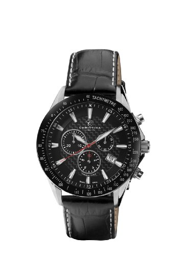 Christina-Design-London-Racing-Sport-Mens-Quartz-Watch-with-Black-Dial-Analogue-Display-and-Black-Leather-Strap-516SBLBL