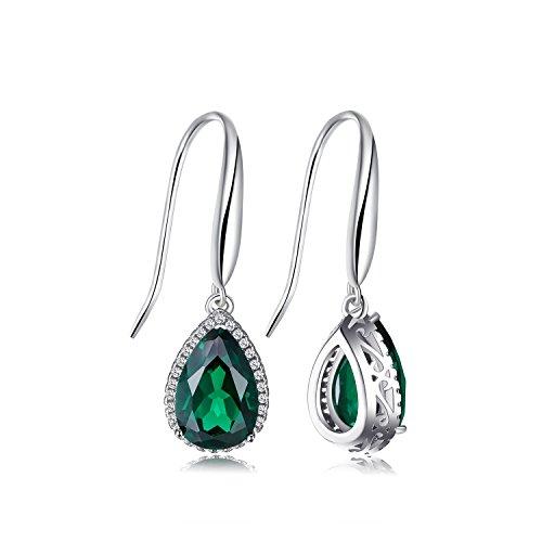 Grüne (Jewelrypalace 5.8ct Grün Simulierte Nano Tropfenschliff Russisch Smaragd Ohrhänger Ohrringe 925 Sterling Silber)