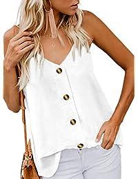 788122d74aad8e GOSOPIN Womens Summer Sleeveless V-Neck Blouse Casual Adjustable Spaghetti  Straps Cami Vest Tank Tops