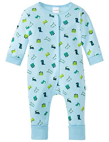 Schiesser Baby-Jungen Supersaurus Anzug mit Vario Fuß Zweiteiliger Schlafanzug, Blau (Hellblau 805), 80 (Herstellergröße: 080)