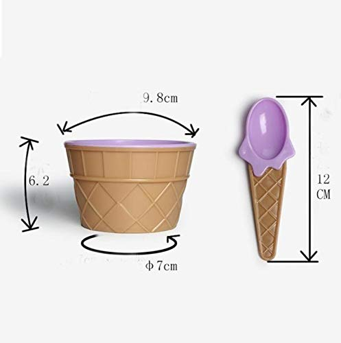 Ice Cream Scoops & Stacks - Lovely Ice Cream Bowl With A Spoon Wonderful Gift Children Love Dessert Bowls Cup Dinning - Spoon Mousse Ice Scoop Cream Cup Ice Set Scoops Ice Cream Cup Dark Sp -