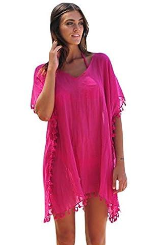 Yiyada Women Colorful Tassels Crochet Pom Pom Tassel Hem Gauze Pareos dresses Sarongze Beach Kaftan Swimsuit Cover- (M, Rosy)