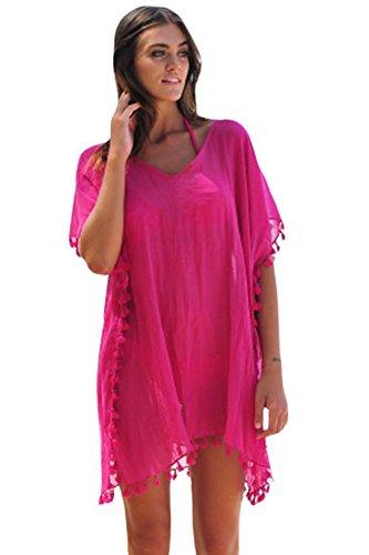 Pareo Sarong Strand Cover (Yiyada Damen Sommer Strandkleid Minikleid Oberteile Neckholder Cover Up Frauen Sommerkleid Partykleid Beachwear Bademode Pareos Strandkleider (L, rosig))