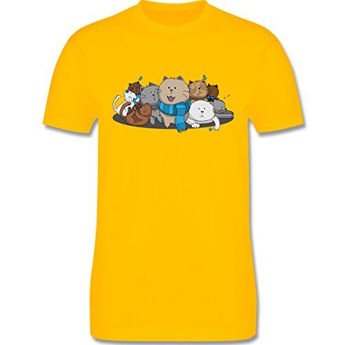 Shirtracer Katzen - Süße Katzen - Herren T-Shirt Rundhals Gelb