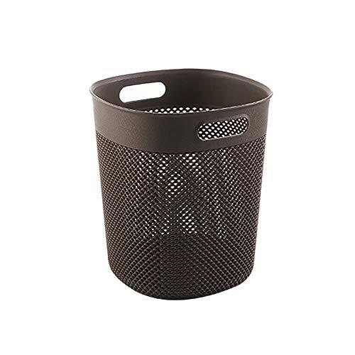 LifeX Keine Abdeckung Kunststoff Abfallkorb Nordic Wohnzimmer Mülleimer Mit 2 Griff, Papier Hohlkorb Minimalistischen Platz Lagerung Eimer Büro Müll Mülleimer (Color : Brown, Größe : L) -