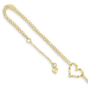 14k Yellow Gold Two-tone Gold Mirror Beaded Anklet 9inch Fine Jewelry Ideal Gifts For Women