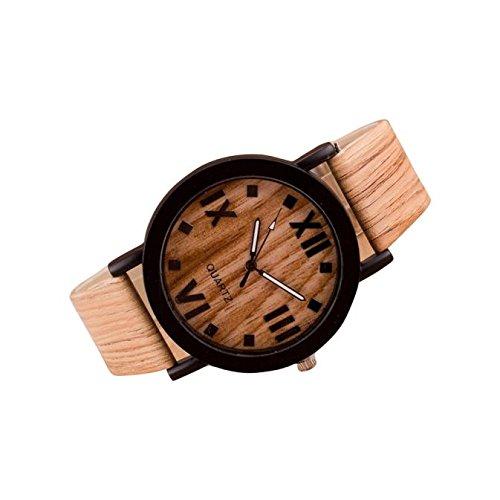 Yogogo Damen Quarz Analog Armband, 1 Cent Artikel Armbanduhr   Lederband   Dekoration   Geschenk   Alugehäuse   Quarzwerk   3,6 cm Durchmesser   1,8cm Bandbreite   23cm Bandlänge (Holz)