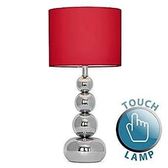 minisun touch me 39 marissa 39 tischlampe mit verchromten kugeln und einem roten lampenschirm aus. Black Bedroom Furniture Sets. Home Design Ideas