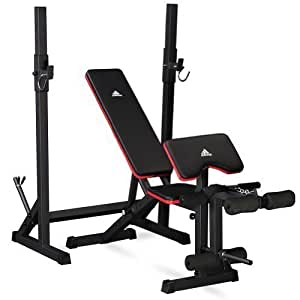 adidas Essential Workout Weight Bench with Rack - Grey/Red