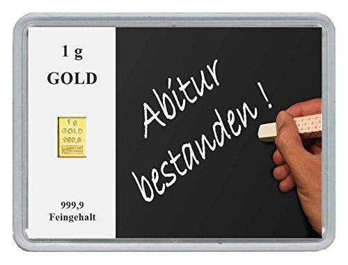 "New Edition 1g Goldbarren 999,9 Feingold in Motivbox\""Abitur .\"" in edler Goldverpackung"