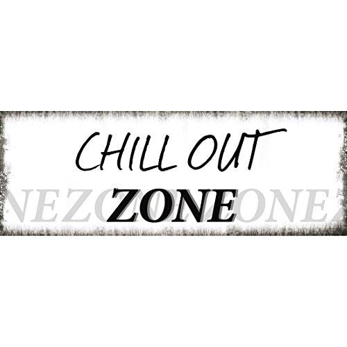 Xavax Schild Chill Out Zone (39 x 14 cm, Vintage Blechschild mit Spruch, Dekoschild) weiß