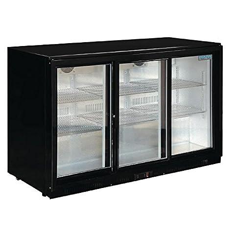 Polar Heavy Duty Back Bar Cooler with Sliding Doors in Black 330Ltr / Commercial Restaurant Cafe Bar Pub