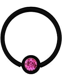 BCR de Piercing Anillo Titanio Negro 0,8 Swarovski Elements cristal rosa | 6 –