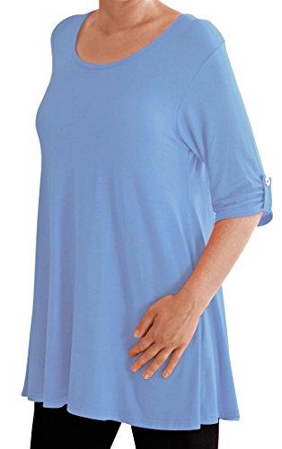 Eyecatch TM Oversize - Haut Tunique manches longues 3/4 large col rond grandes tailles- Jessica - Femme Himmelbleu