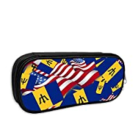 Barbados Flag with America Flag Pencil Case Pouch Bag Multifunction Cosmetic Makeup Bag School Office Storage Organizer