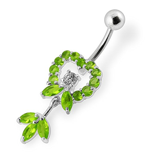 Bijou de Corps anneau de nombril en argent motif coeur en pierres avec pendant motif feuille Light Green