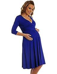 Happy Mama Femme maternité jolie robe de grossesse à manches 3/4 col V 282p