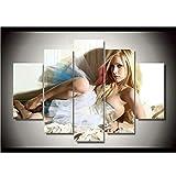 alicefen Canadienne Avril Lavigne Rock Punk beauté Dame chanteuse HD Toile Peinture Wall Art 5 Pcs Prints Home Decor Photo Affiche unframe Impressions sur Toile-Frame