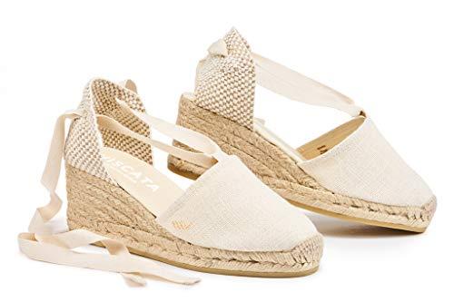 VISCATA Classic Espadrilles Heel Made in Spain, Elfenbein - 40 EU