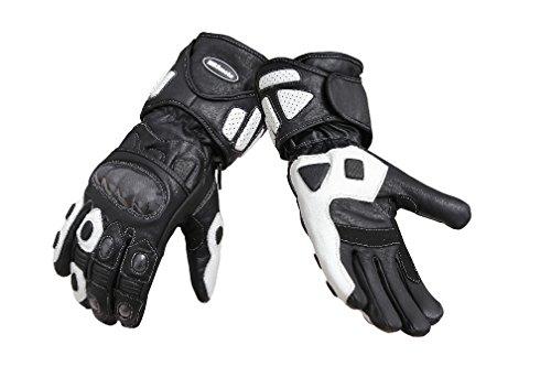 MBS moto, MBG04, guanti sportivi di protezione lunghi in pelle, per moto, scooter, da turismo, guanti in pelle bianchi (L, bianco)