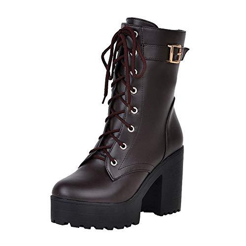 BaZhaHei Damen Schuhe Mode Dicker Absatz Booties Mittleres Rohr Hoher Absatz Stiefel Weiblich britischer Stil Dicker Boden Spitze Damen Stiefel - Handgemachte Booties