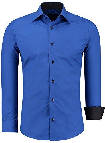 Jeel Combinaison à Manches Longues Chemise Basic Business Loisirs Mariage Slim Fit, Couleur: Bleu Saxe, Taille: S