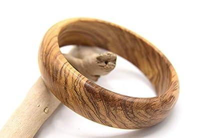 WOODISLAND - Bracelet rond en bois d'olivier Corse,bois biologique tourné à la main produit artisanal,bracelet en bois forme ronde,cadeau fêtes des mères, anniversaire, noel