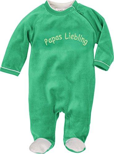Schnizler Unisex Baby Schlafstrampler Schlafoverall Nicki mit Stickerei: Papas Liebling, Oeko-Tex Standard 100, Grün (Grün 29), 62