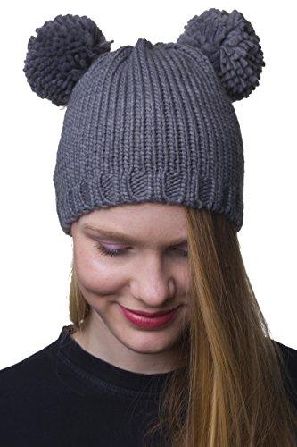 Shenky - Bonnet avec pompon Deux pompons/gris