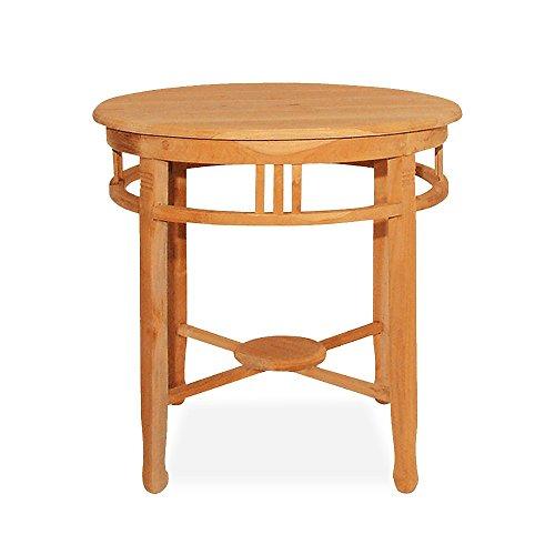 Gartentisch Holz Massiv Rund 60cm Teakholz unbehandelt Holztisch - Man