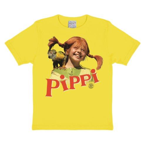 ngstrumpf T-Shirt Kinder Mädchen - Äffchen Herr Nilsson - gelb - Lizenziertes Originaldesign, Größe 122/134, 7-9 Jahre, fresh yellow, 122 ()