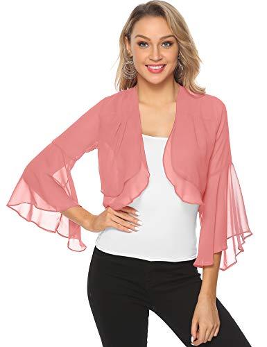 Aibrou coprispalle donna bolero chiffon maniche 3/4 cardigan elegante giacca leggera per primavera estate (rosa, xx-large)