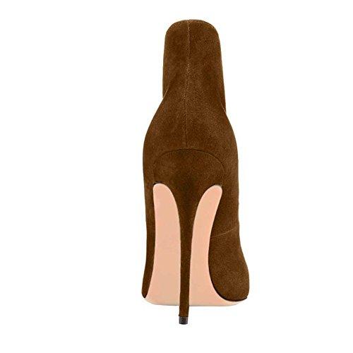 Sapatos Toe Apontou Bombas Stilettos Alto Eks 46 De De Camurça Ue Parte Atumob Marrom Mulheres Salto Faux Grife 35 0Ywwz8q