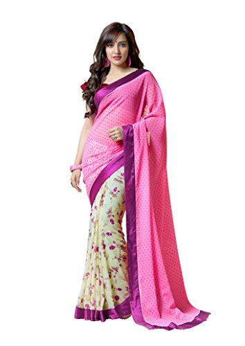 Dharmee Fabrics Georgette Saree (Pink Flower Print_Pink)