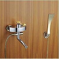 KISSRAIN® Doccia rubinetto / vasca da bagno rubinetto - Contemporanea - Handshower gratuita - Ottone (Chrome)