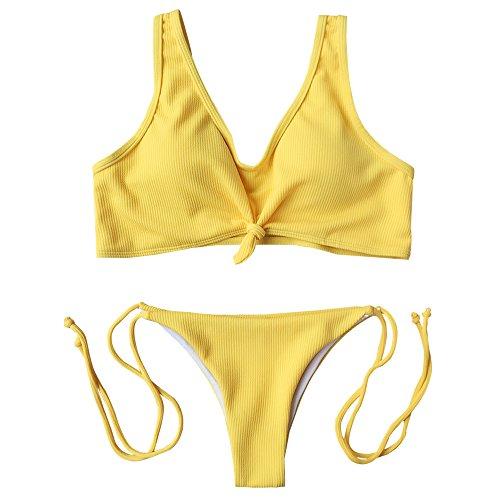 ZAFUL Frauen Ribbed Knotted String Bralette Push Up Sommer Strand Triangel Brasilianische Bikini Beachwear Bademode(Gelb L)