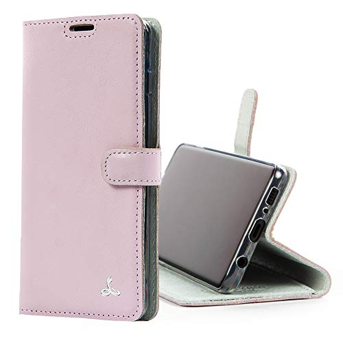 SnakeHive Custodia Samsung Galaxy S10 Plus Color Pastello Compact di Custodia a Portafoglio in Pelle Nubuck con Fessura per Carte di Credito e Banconote (Rosa)