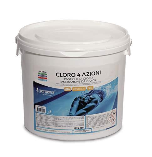 San Marco 5 kg. Cloro in pastiglie da 200 gr. multiazione 4 azioni con tricloro 90% per Acqua Piscina