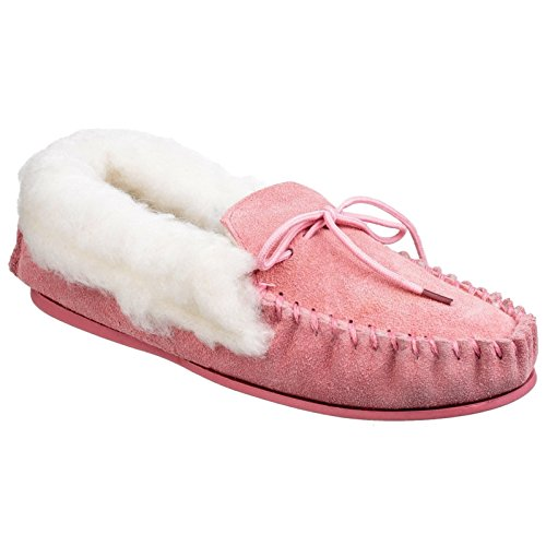 Mirak Womens/Ladies Avon Traditional Moccasin Textile Comfort Slippers Beige