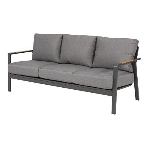 Gartenbank 3-Sitzer aus Alu in anthrazit und Teak-Optik inkl. Kissen in grau. Die Loungebank ist wetterfest, ideal für Garten, Terrasse und Balkon.