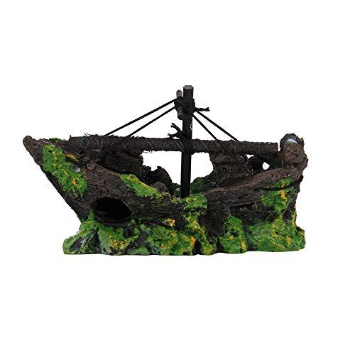 Aploa Aquarium Dekoration Schiff, Boots Ansicht Aquarium Rockery versteckender Höhlen Baum Aquarium Verzierungs Dekoration, ideal für kleine Garnele Fisch Schildkröte (A)
