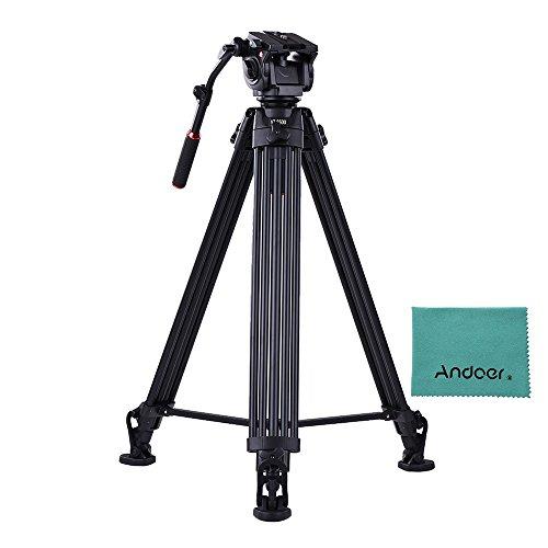 Andoer VT-3500 197cm / 6,5ft Metall Kamera Stativ mit VT-3530 Fluid Dämpfungskopf Max. 20kg / 44Lbs Last für Sony A7 A7II A7RII ILDC Video Studio Fotografie Film Making (Film Making-stativ)