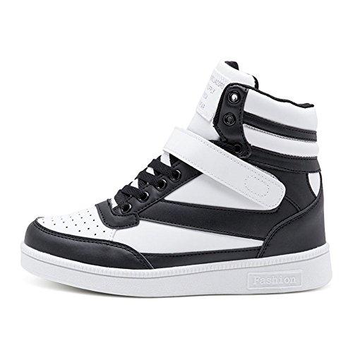 happygo! Damen Keilabsatz Sneakers Wedges Keilabsatz 37cm High Top Sneakers Stiefel Knöchel Klettverschluss Schwarz