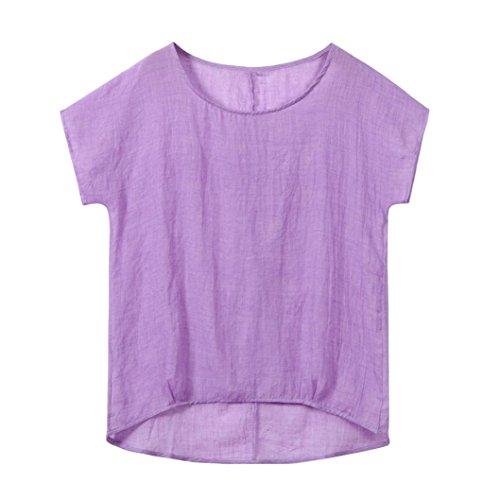 IMJONO T-Shirt Womens Fledermaus Kurzarm beiläufige Lose Top Dünnschnitt Bluse Pullover (EU-48/CN-4XL, Lila) (Bestickt Western Shirt Vintage)